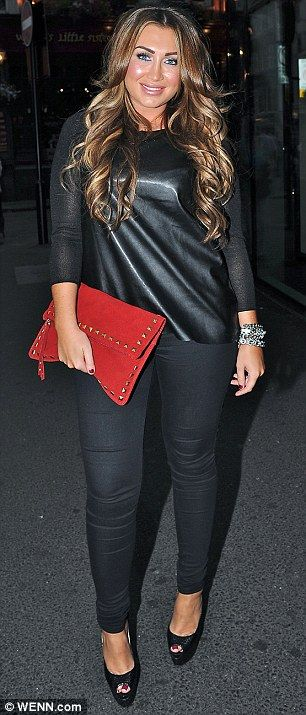 Lauren Goodger wearing the Miss Selfridge Red Suede Stud Edge Clutch