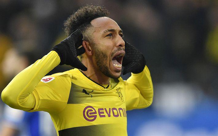 Download wallpapers Aubameyang, joy, Borussia Dortmund, Bundesliga, football, soccer, Pierre-Emerick Aubameyang, BVB