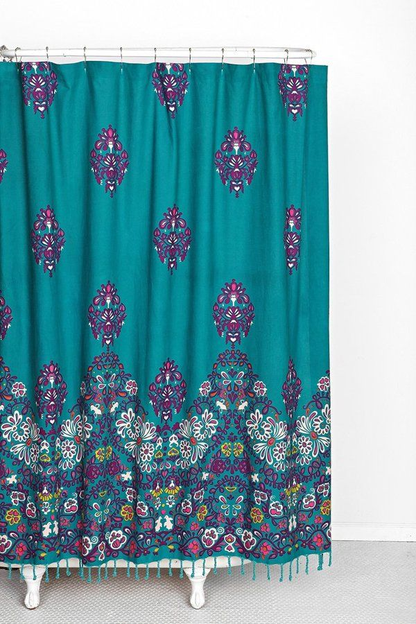 Plum bow blomma shower curtain rich colors of purple for Plum bathroom ideas