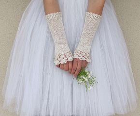 НОСТАЛЬГИЯ Long Вязание без пальцев Кружева Свадебные перчатки по elfinhouse
