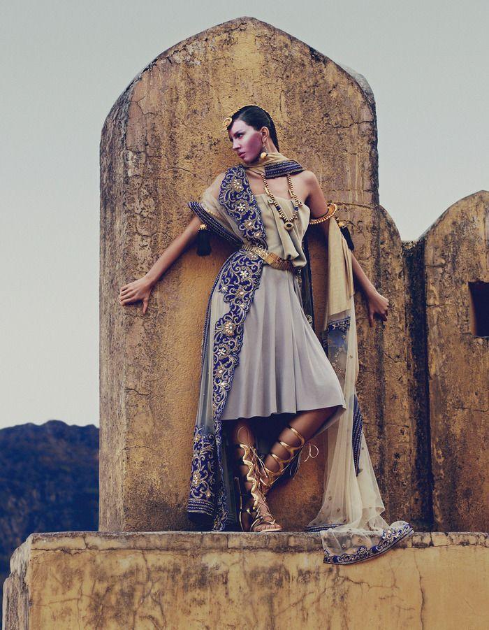 Drapery Fashion - Chalayan viscose dress. Pratap Sons silk georgette embroidered sari. Christian Louboutin leather gladiator sandals. Amrapali jewellry.