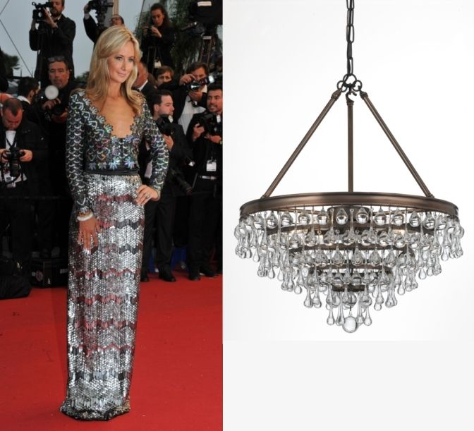 """Find My Doppelganger Contest Entry! Polly H. sent us this photo of Lady Victoria Hervey in a silver skirt and a bolero with multicolored sequins that she thinks is the best doppelganger match-up for our Calypso chandelier. If you agree and want to vote for Polly's pick then """"like"""" this photo in our album on Facebook."""
