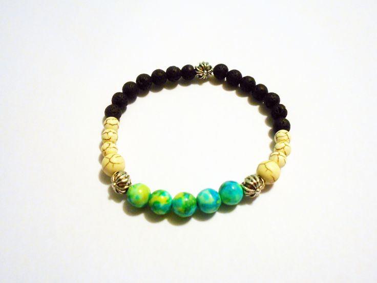 unisex bracelet made of Ocean jade +Magnezit and lava