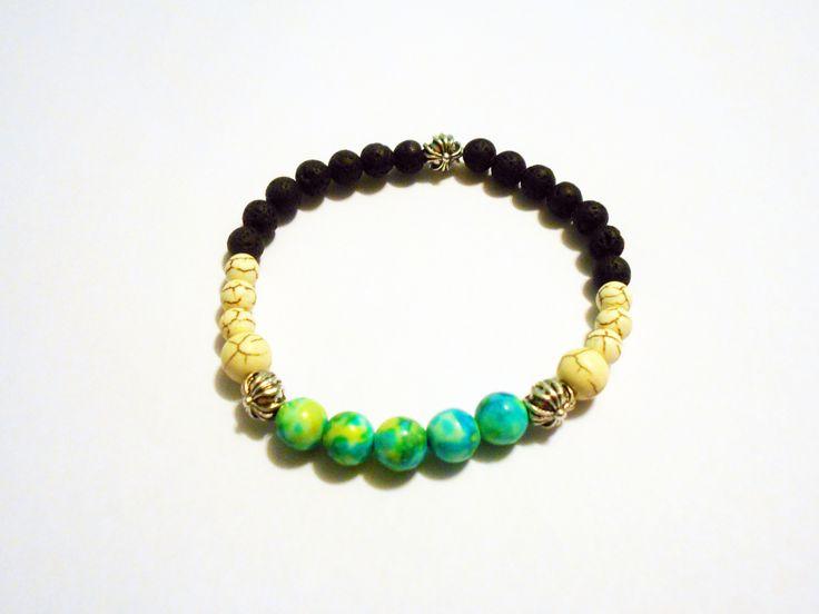 unisex bracelet made of Ocean jade +Magnezit and lava