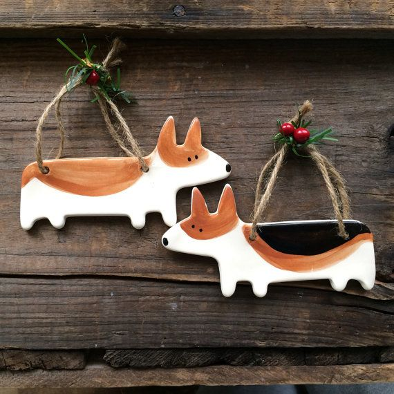 Dog Ornament, Corgi Dog Ornament, Welsh Corgi Ornament, Corgi Christmas Ornament,Handmade pottery Dog Ornament,Red and White Corgi tri color