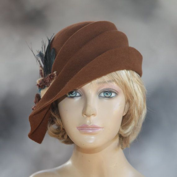 Ava, fur felt cloche with side draped pleats, and felted flower