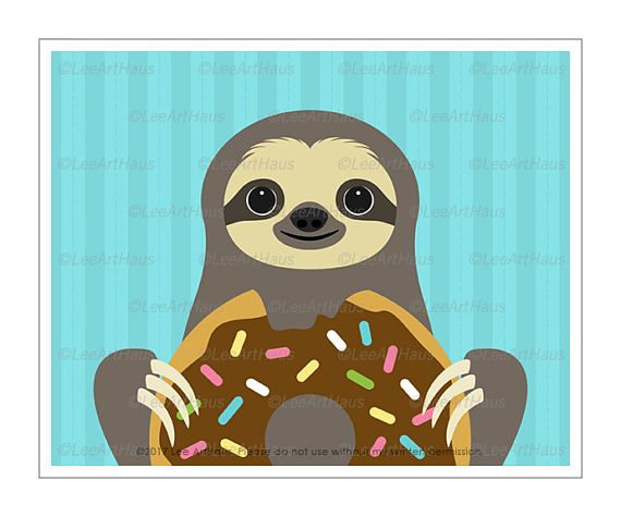57J Kid Art Prints  Sloth Eating Big Chocolate Donut Wall Art