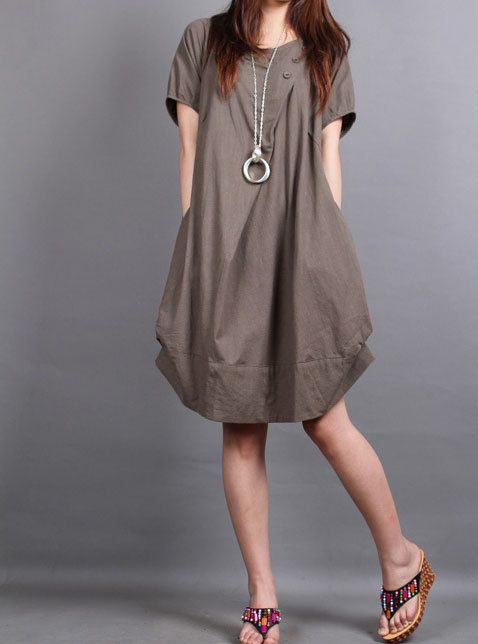 cotton pleated Short sleeve dress shirt. $69.00, via Etsy.
