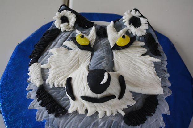 my birthday cake that a friend made for me because she knows I love wolves!