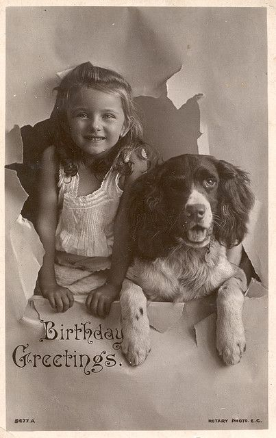 Vintage photo of a girl with her Springer . . . ♡... re-pin by www.StoneArtUSA.com ~ affordable custom pet memorials for everyone.