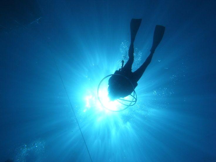 a diver in bubble.  氣泡圈
