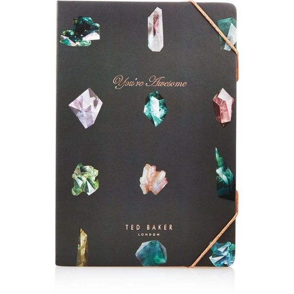 Ted Baker Linear Gem A5 Sticky Notes Notebook ($15) ❤ liked on Polyvore featuring home, home decor, stationery and grey