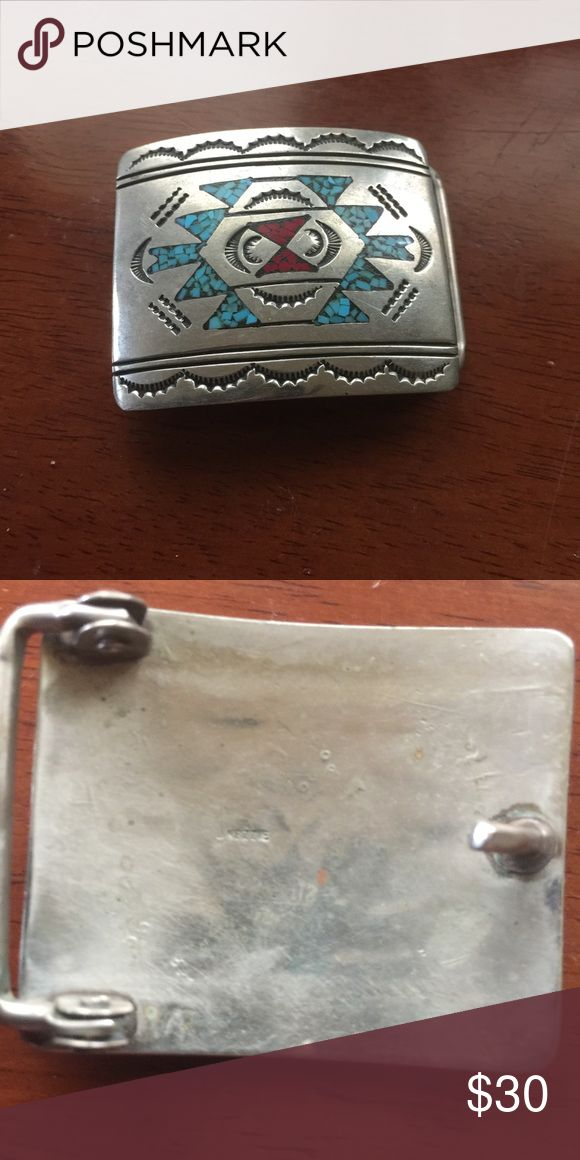 Solid Sterling Silver Jimmie Nezzie belt buckle This is a rare handmade piece in excellent condition!!!! This belt buckle is from active American Navajo Indians!!!!! Accessories Belts