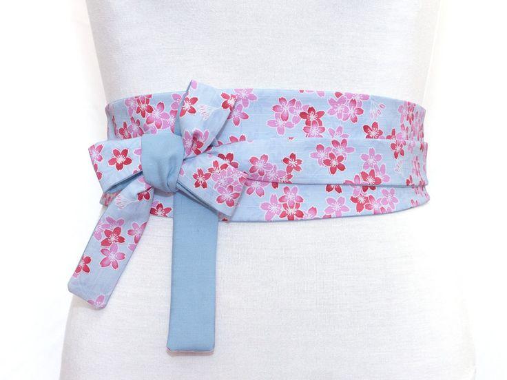 Obi Gürtel / Taillengûrtel mit bunt Print & Uni hellblau