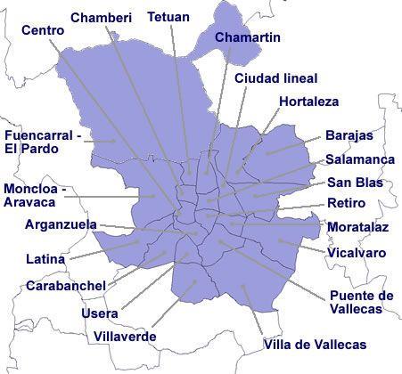 15 meters to Spain Madrid distritos y barrios
