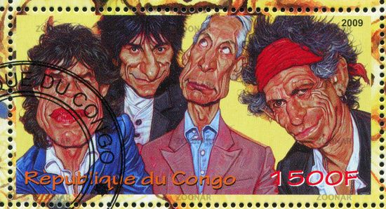 Rolling Stones postage stamp from the Congo