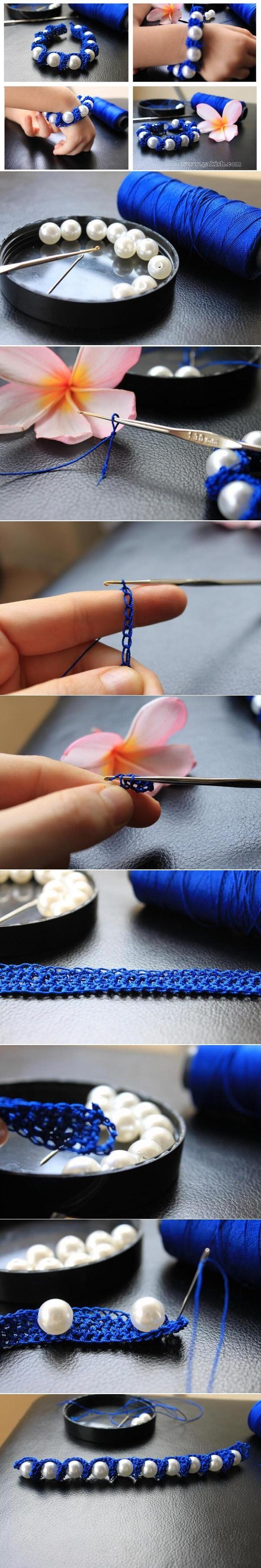 Как связать браслет с бусинами