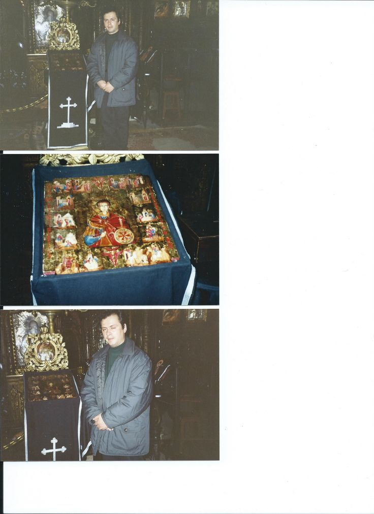 SF. MARE MUCENIC DIMITRIE IZVORATORUL DE MIR CU SCENE DIN VIATA SA-icoana de hram  DIMENSIUNI  35/30 CM  TIP: material, suport  TEMPERA PE LEMN  ANUL, DATA, lucrarii  2000  LOCATIE Biserica SLOBOZIA,Str. LEON VODA NR.3, BUCURESTI SEMNAT:monograma  CVG si anul executiei pe spatele icoanei