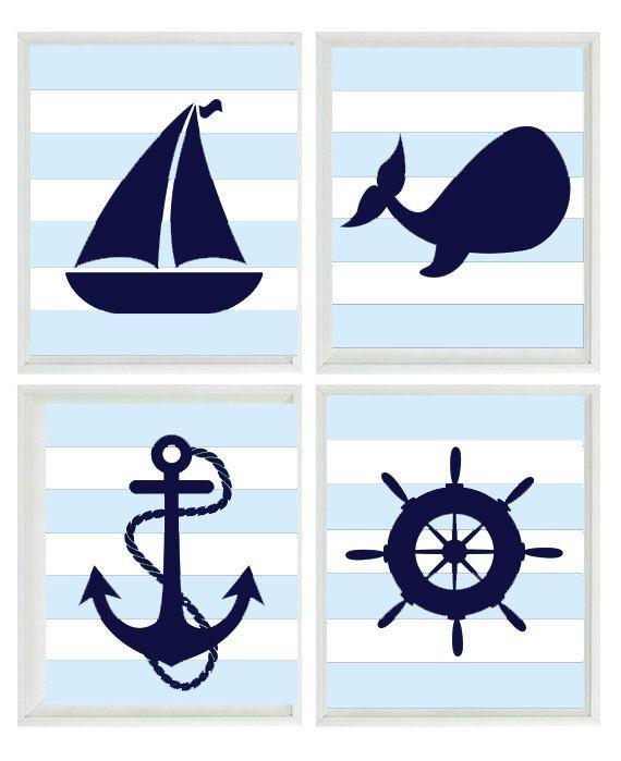 Nautical Art Print Set -  Navy Blue White Light Blue  Stripes Decor - Whale Anchor Sailboat Wheel - Wall Art Home Decor Set 4 8x10. via Etsy.