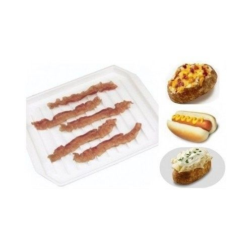 Microwave Bacon Tray Kitchen Cooking Plate Plastic Food Dish Oven Safe White New #V500