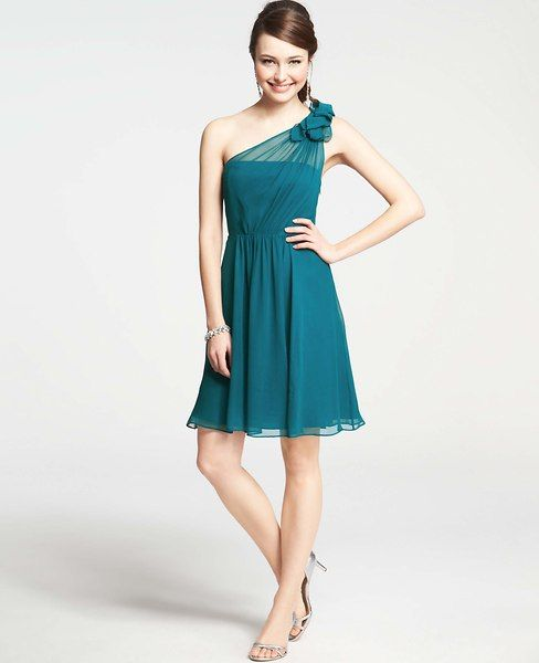 Ann Taylor - Cocktail Dresses: Party Dresses, Evening Gowns, Formal Dresses: ANN TAYLOR - Silk Georgette Flower One Shoulder Dress $265