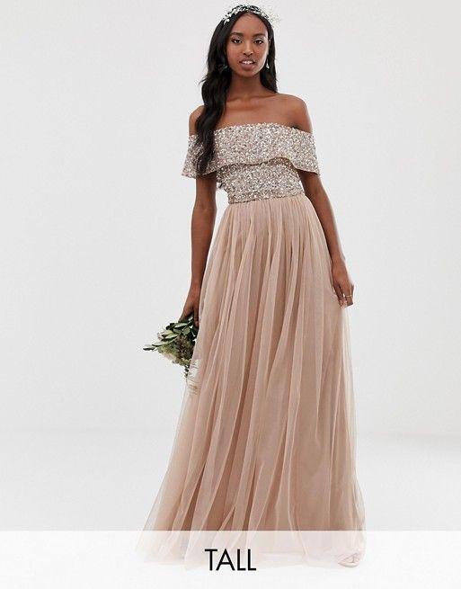 fd7b7f3a0a Maya Tall | Maya Tall Bridesmaid bardot maxi tulle dress with tonal  delicate sequins in taupe blush