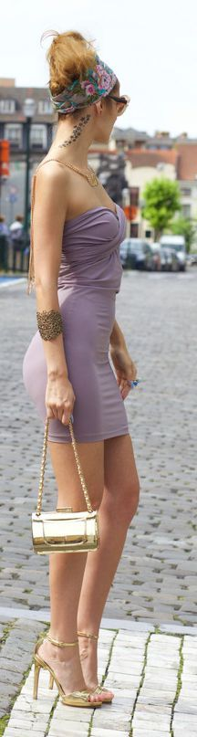 Lilac Strapless Fatal Dress by From Brussels With Love