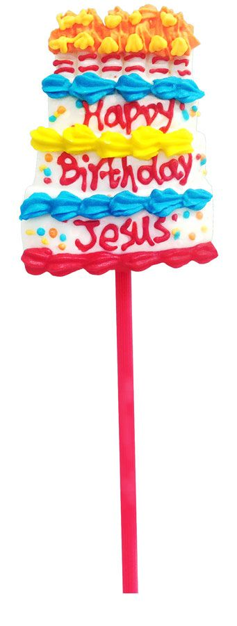 """Cute, fruit-flavored, birthday cake-shaped pops are hand crafted and delicious. They are very large pops that last a long time. The simple message of """"Happy Birthday Jesus"""" is a great reminder of the true meaning of Christmas."""