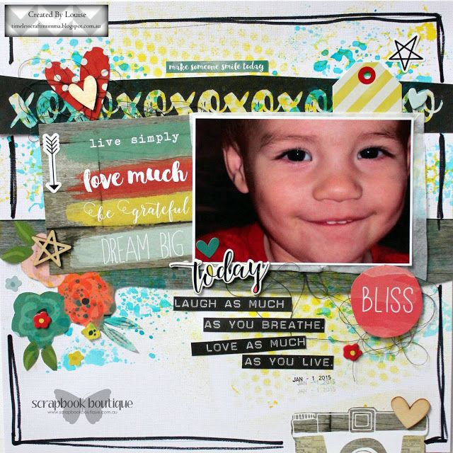 "Louise Turner - TimelessCraftMumma created for Scrapbook Boutique using the Simple Stories ""Life in Color"" collection"
