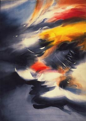"""""""Cyclists Abstract"""" by Doug Lew. 28"""" x 20"""" Watercolor Original. An abstract of cyclists that leaves your mind to interpretation of this whirling in-motion color palette. Info: http://www.spiritofsports.com/product/CCL-A-01478/Cyclists_Abstract"""