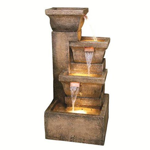 33″ Lighted Rustic Weathered Outdoor Garden Water Fountain.   Indoor Fountains Archives - Best Indoor Fountains