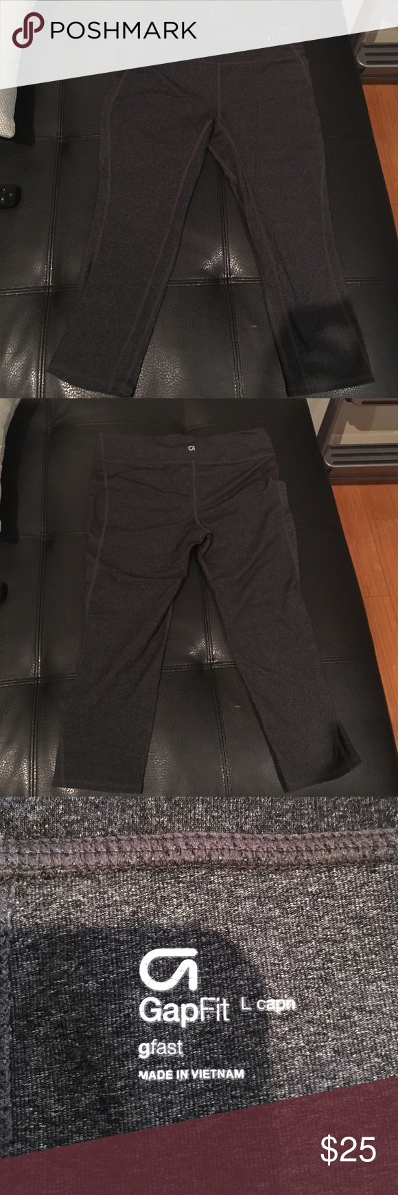 GapFit gfast Capri legging The perfect workout cropped legging in charcoal grey. Nylon/polyester/spandex blend. Like new, worn once or twice. GAP Pants Leggings