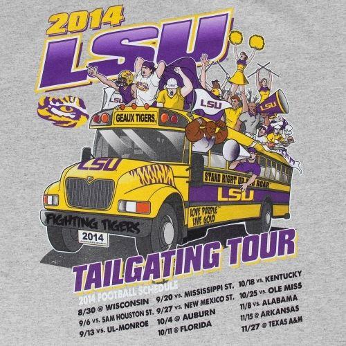LSU Tigers Gray 2014 Football Schedule T-Shirt