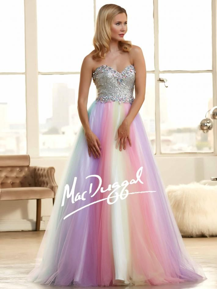 Rainbow Ball Gown | Corset Prom Dress | Mac Duggal 65086H