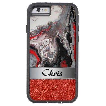 Bold Marble Black Silver Red Leather Abstract Art Tough Xtreme iPhone 6 Case - red gifts color style cyo diy personalize unique