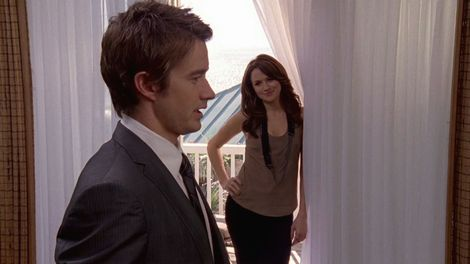 "Robert Buckley and Shantel VanSanten in a scene from One Tree Hill, episode #7.11 ""You Know I Love You, Don't You""."
