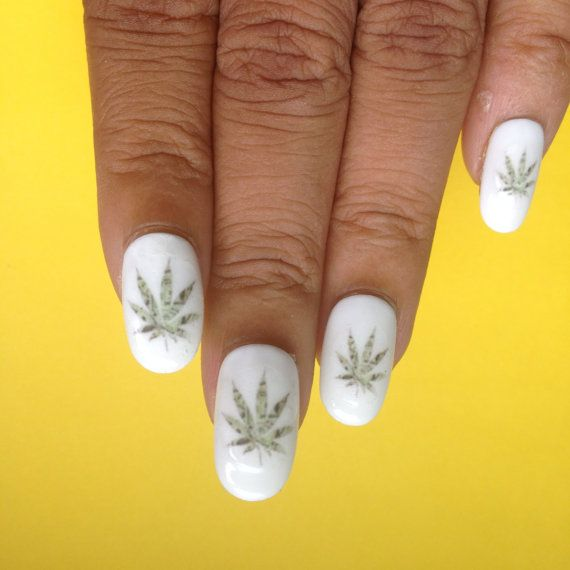 $100 Bill Weed Leaf Nail Decals