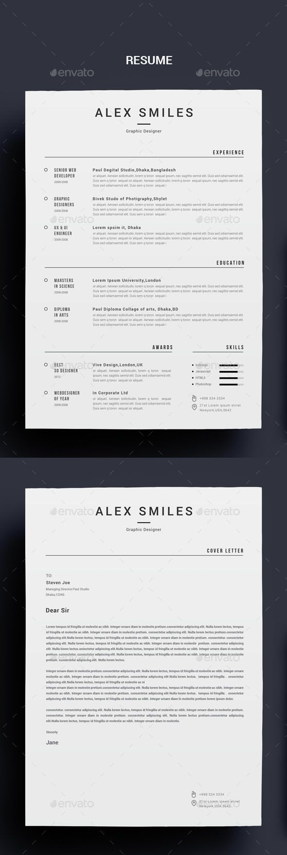 Resume — Photoshop PSD #creative resume/cv #professional resume/cv • Download ➝ https://graphicriver.net/item/resume/18942362?ref=pxcr