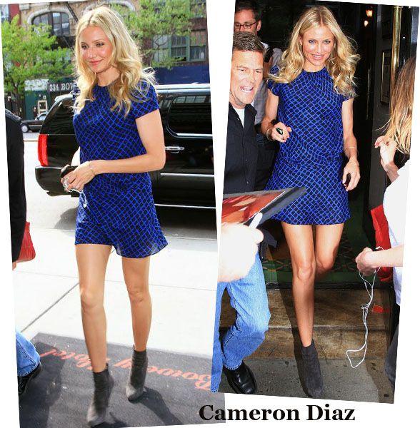 A Cameron Diaz está linda com este vestido azul e ankle boots cinza chumbo. Gostaria de ter este cabelo hoje também, só para variar um pouco.