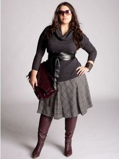 cute skirt and knee boots