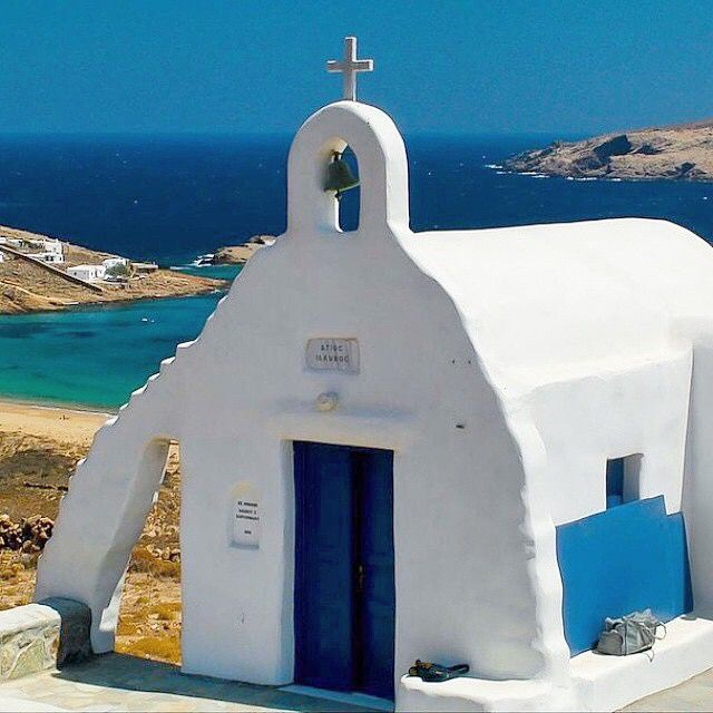nto the spirit of Easter with this beautiful white church . Wonderful white & blue in Agios Sostis beach , at Mykonos island (Μύκονος) .!