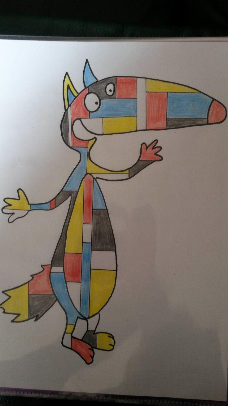 Loup à la manière de Mondrian