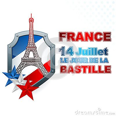 Holidays template for France Independence Day with blue, white, red national flag colors on shield and Eiffel tower