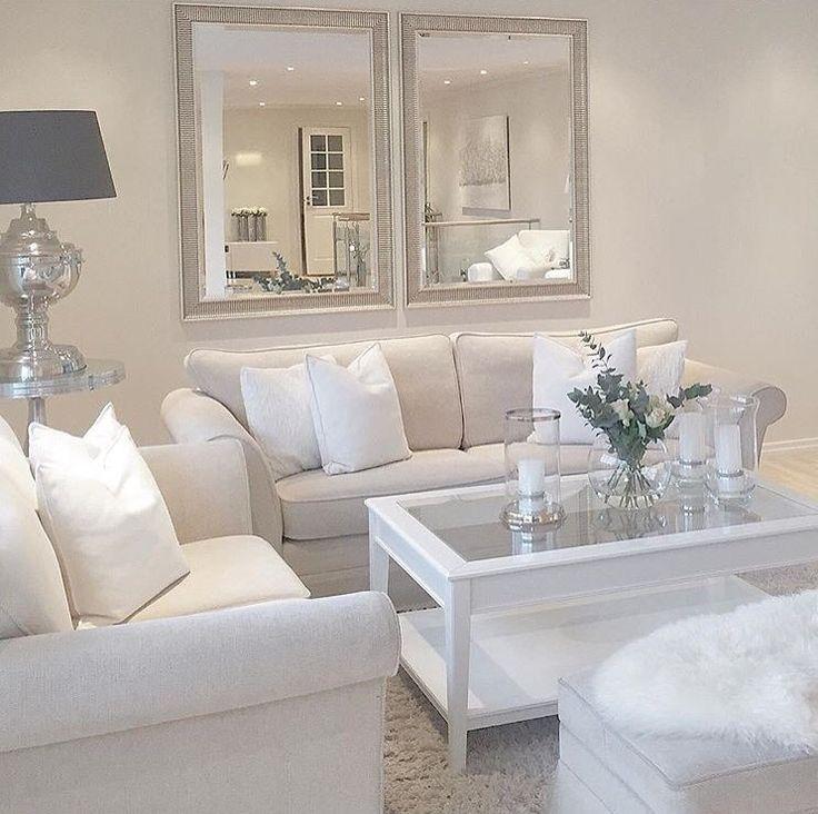 White sofa and mirror