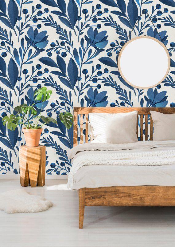 Removable Wallpaper Self Adhesive Wallpaper Blue Flowers And Etsy Removable Wallpaper Self Adhesive Wallpaper Blue Flower Wallpaper
