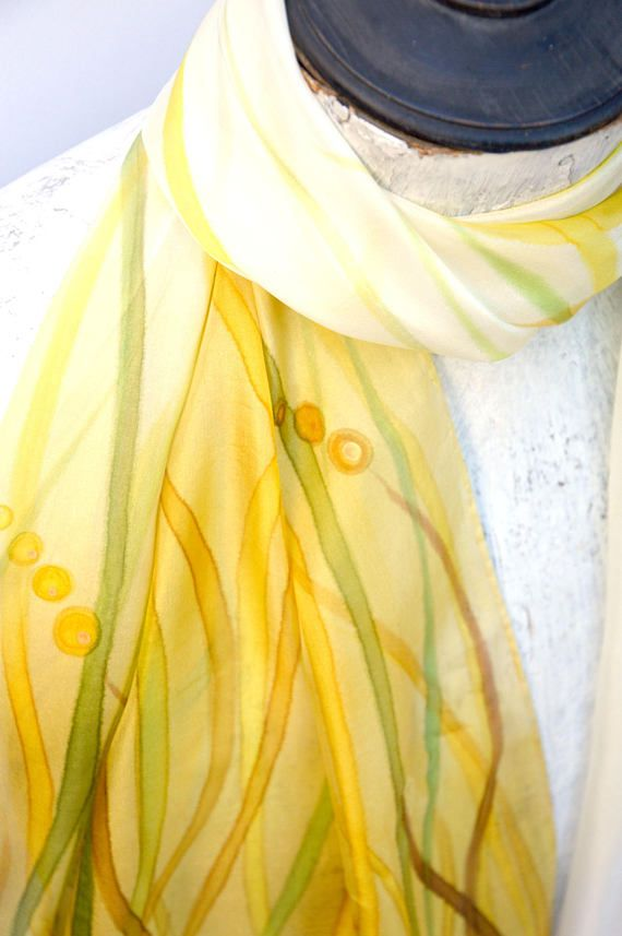 Nature silk shawl ombre shawl tan scarf autumn accessory