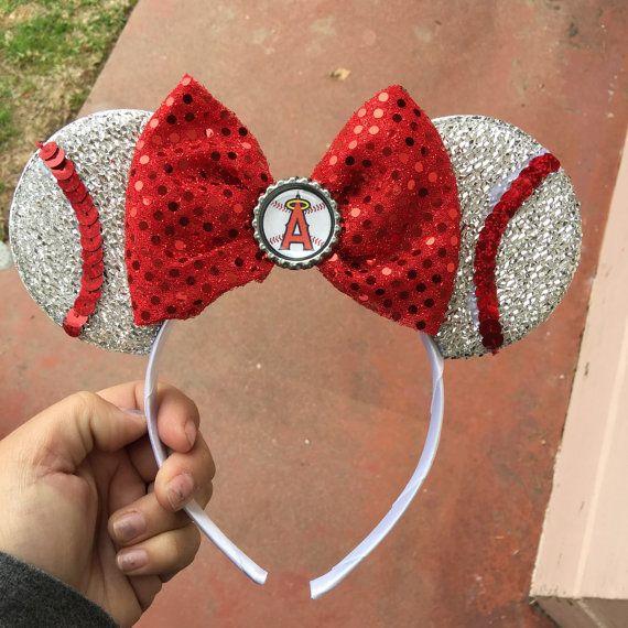 Sparkle Angels baseball minnie mouse ears headband by WizardofBowz
