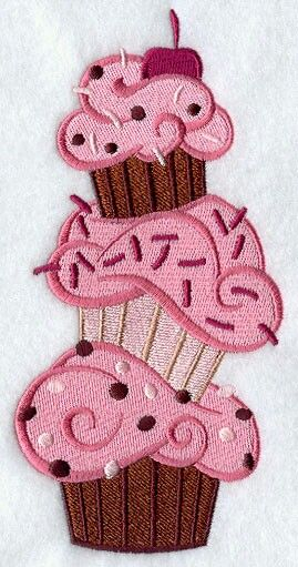 Stacked cupcakes - machine embroidery