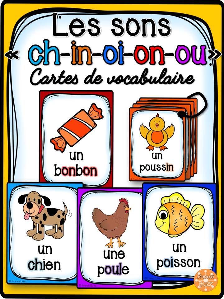 Les sons ch, in-im-ain-aim-ein, ch, on-om, oi, ou - Ensemble des cartes de vocabulaire. Chaque carte contient un mot et une image et le son en vedette est surligné.