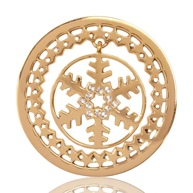 Nikki Lissoni Gold Plate Golden Snowflake Dangle w CRY Coin